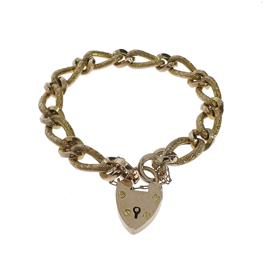 Antique Hand Engraved Figaro Bracelet