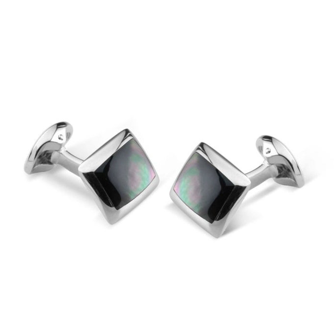Sterling Silver Oblong Cufflinks with Grey Mother-of-Pearl Inlay