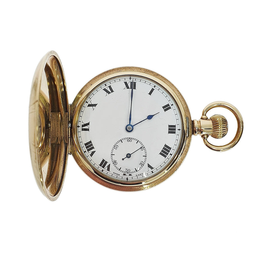 Full Hunter Dennison Plated Pocket Watch