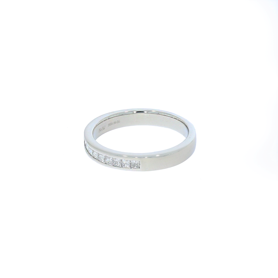 Platinum Princess Cut Diamond Half Eternity Ring
