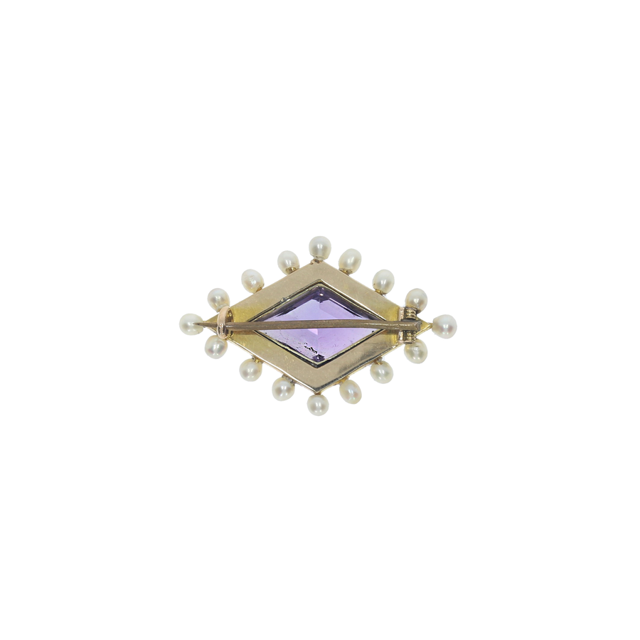 Antique Amethyst & Pearl Brooch