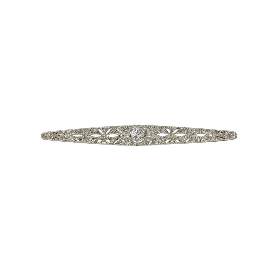 Edwardian Diamond Foliate Bar Brooch