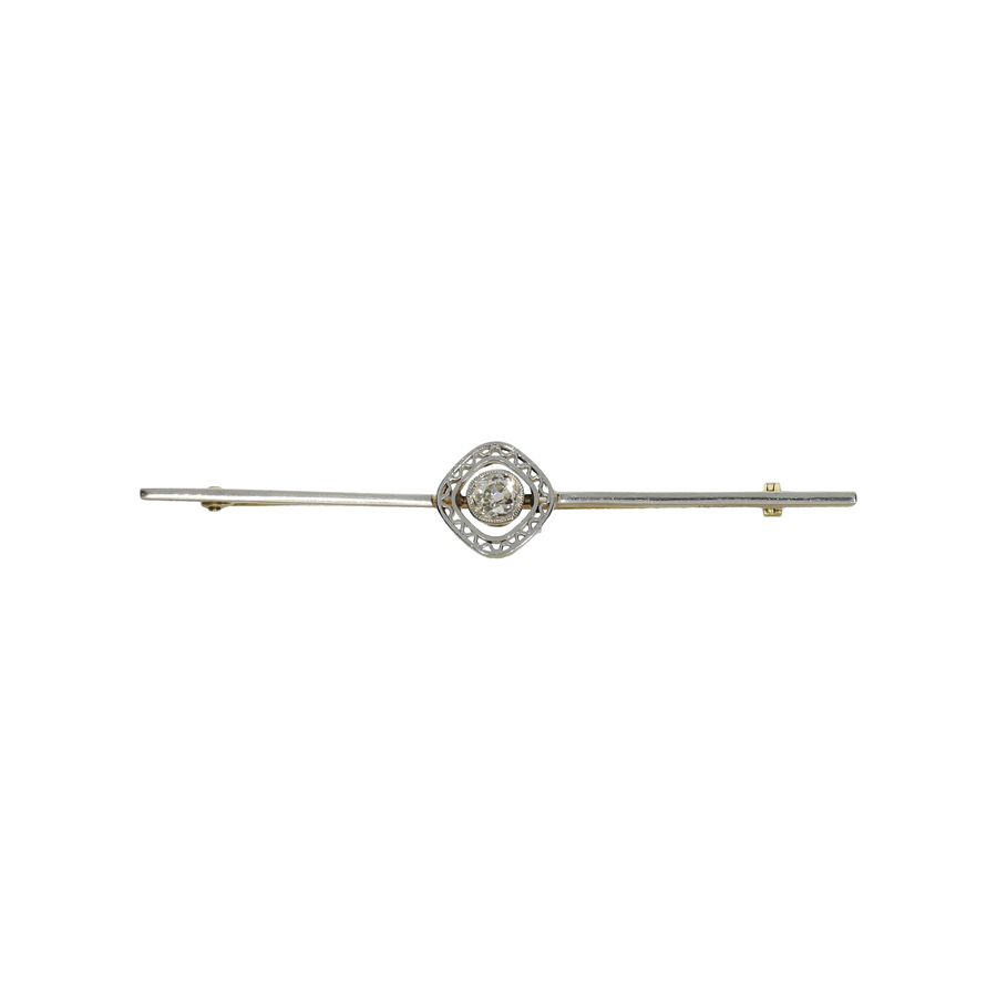 Ard Deco Old Mine Cut Diamond Brooch