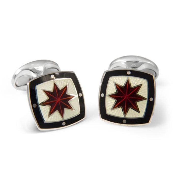 Sterling Silver Fancy Red Star Enamel Cufflinks