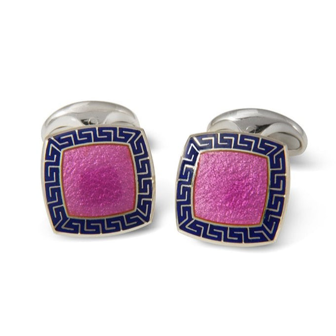 Sterling Silver Pink Enamel Cufflinks with Blue Patterened Border