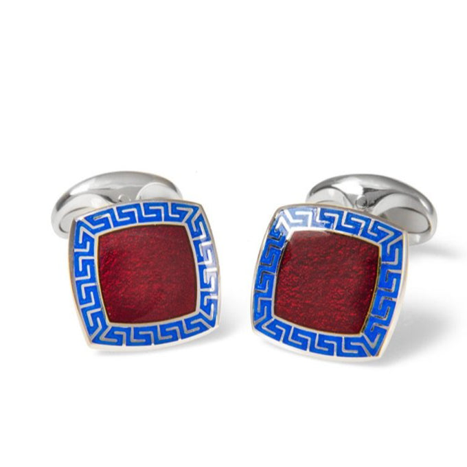 Sterling Silver Red Enamel Cufflinks with Blue Patterened Border