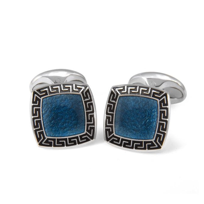 Sterling Silver Blue Enamel Cufflinks with Black Patterened Border