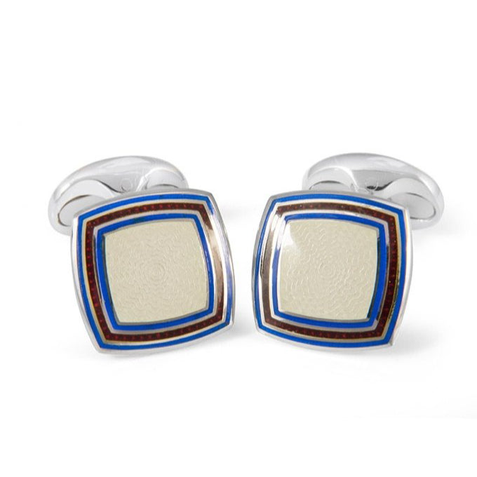 Sterling Silver Clear Enamel Cufflinks with Striped Border