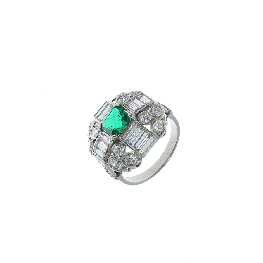Art Deco Colombian Emerald Ring