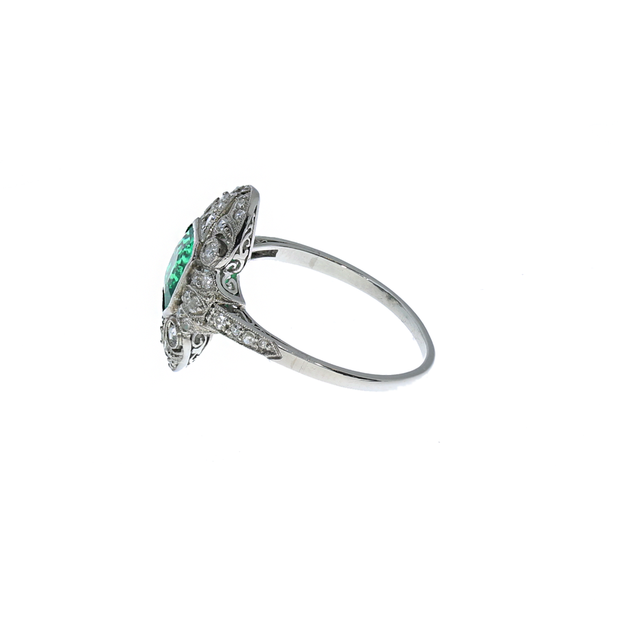 Art-Deco Colombian Emerald & Diamond Ring