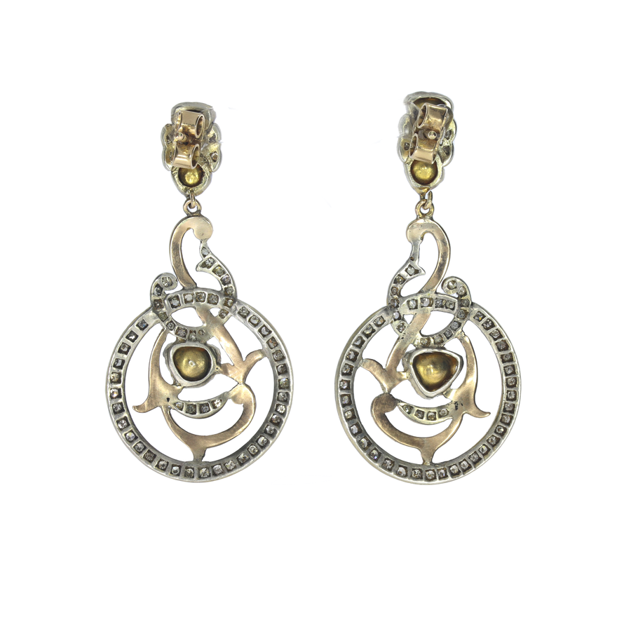 Antique French Enamel & Diamond Earrings