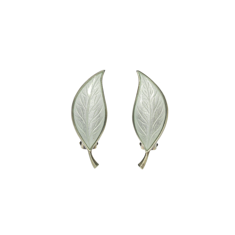 Vintage Danish Enamel Leaf Earrings