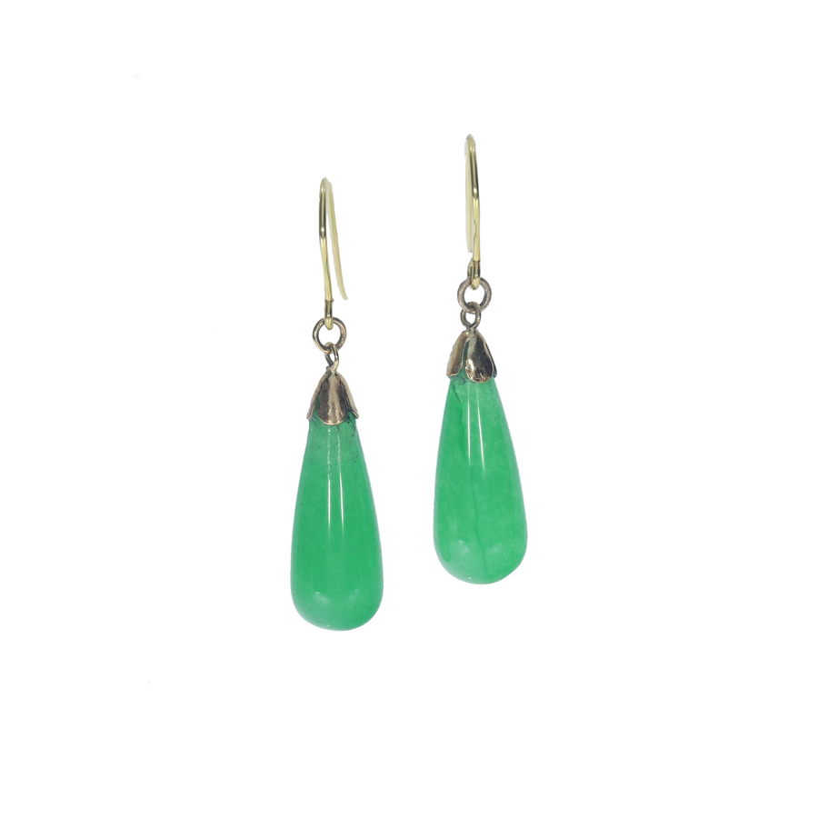 Vitnage Jade Torpedo Drop Earrings