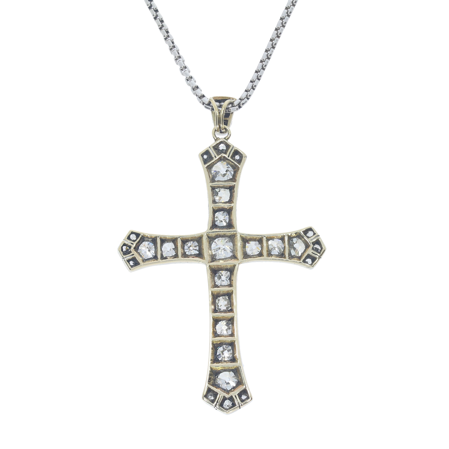 Victorian Diamond Cross Pendant
