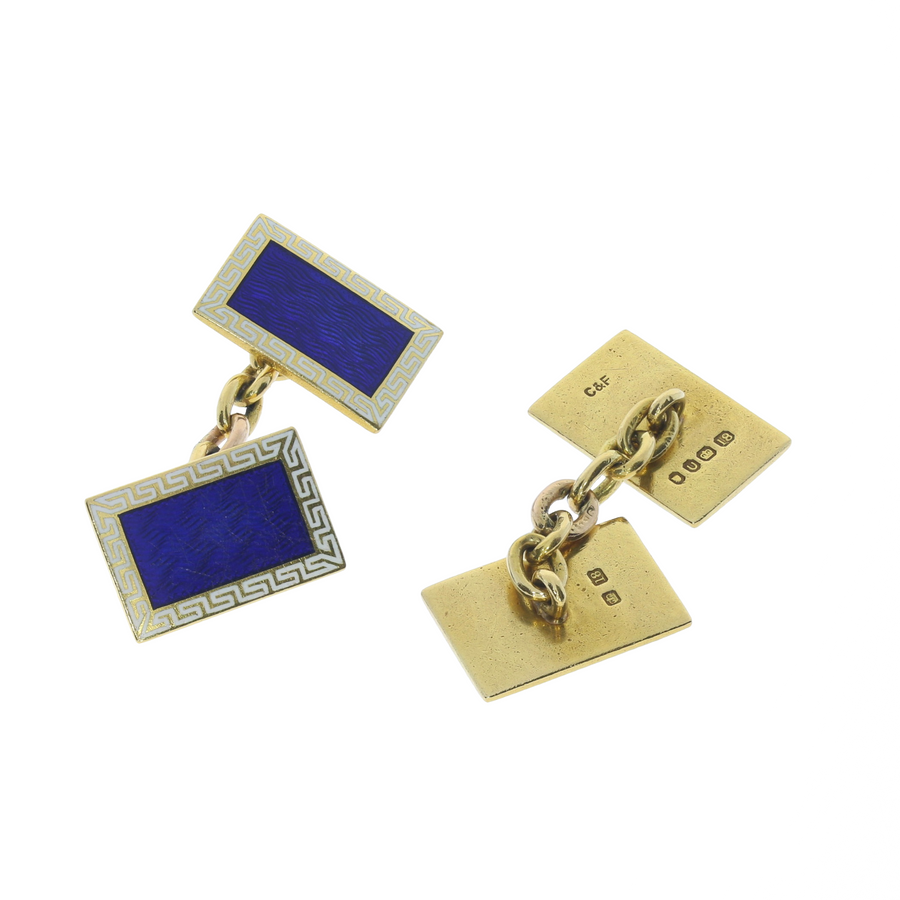 Retro Enamel & Gold Cufflinks