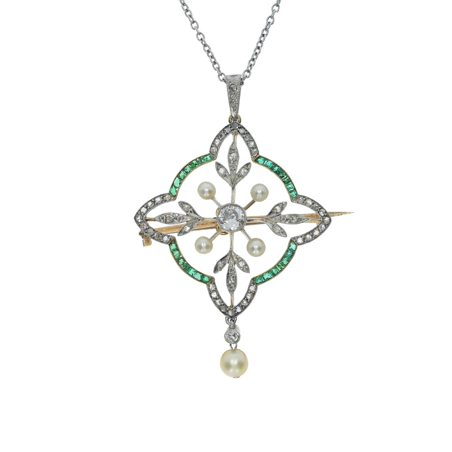 Edwardian Emerald & Diamond Pendant Brooch