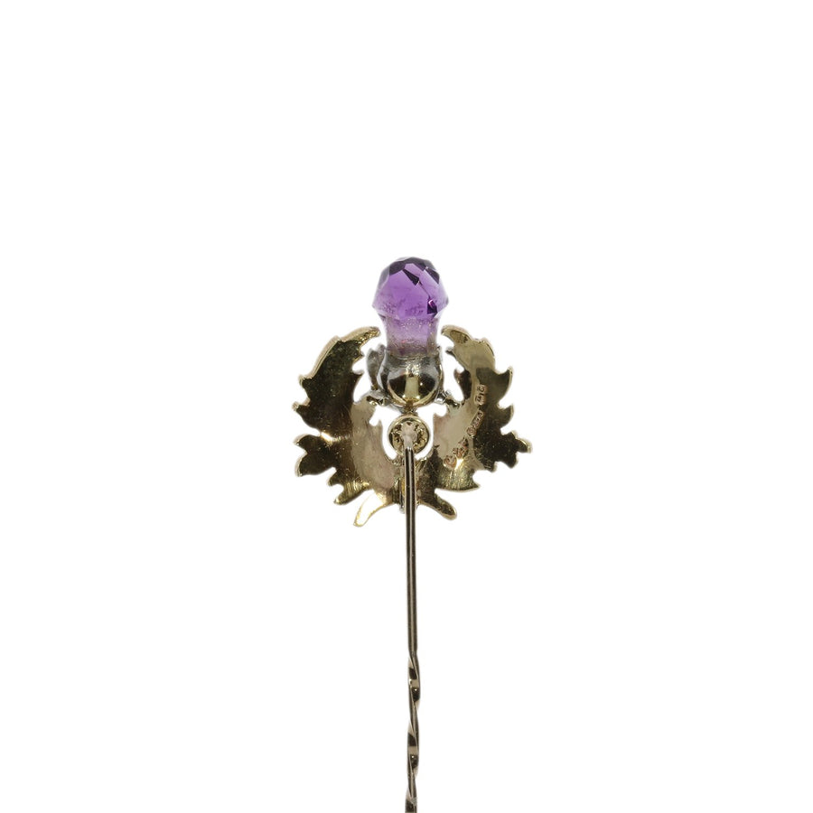 9ct Gold & Amethyst Thistle Pin