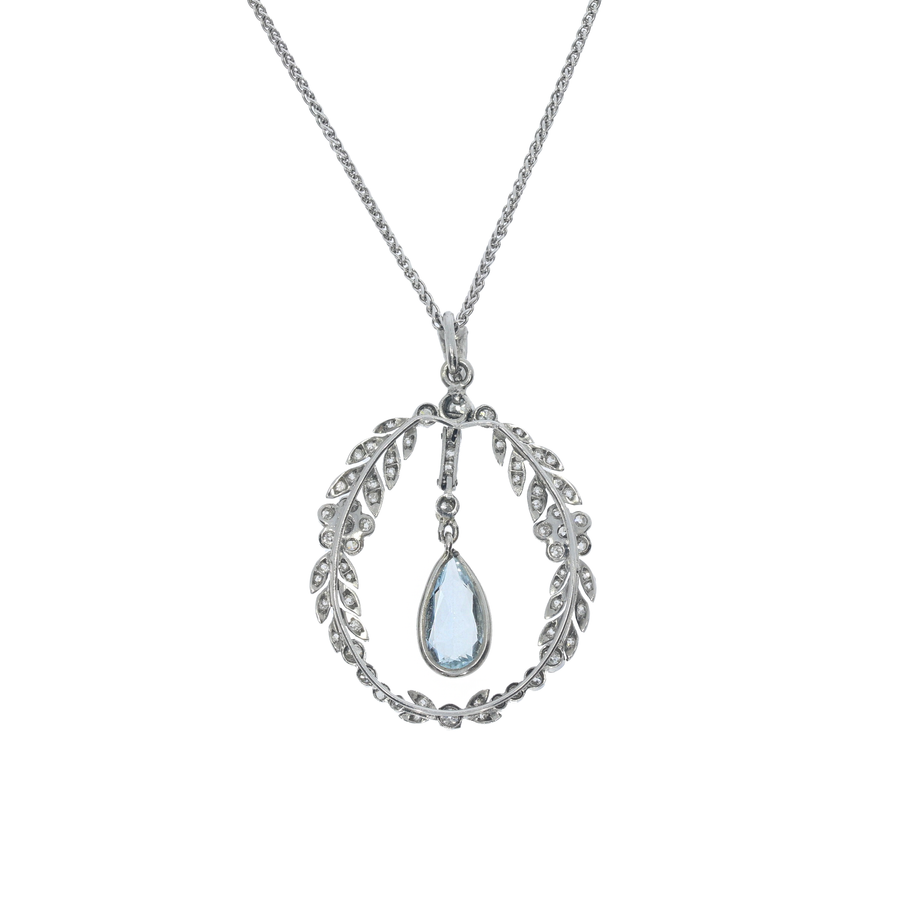 Edwardian Aquamarine & Diamond Pendant