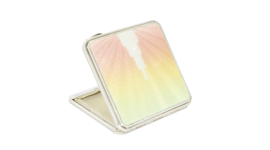Art Deco Style Silver & Enamel Compact