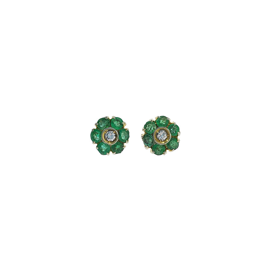 Emerald & Diamond Stud Earrings