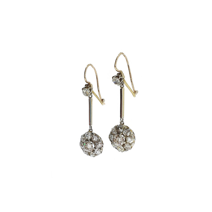2.58ct Old Cut Diamond Drop Earrings
