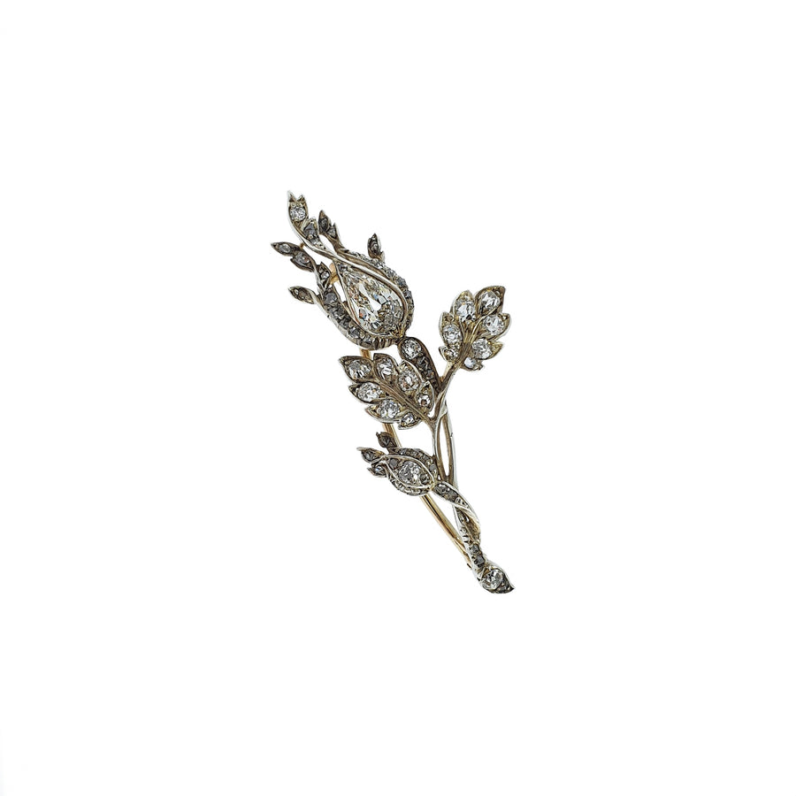 2.18ct Antique Floral Diamond Brooch
