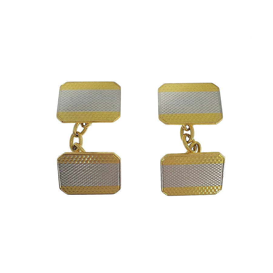 Two-Tone Engine Turned Cufflinks