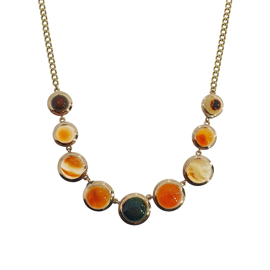9ct Gold Agate Necklace