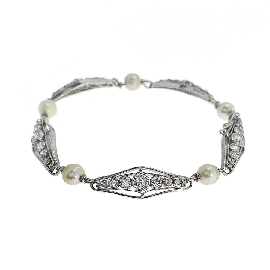 Edwardian Diamond & Pearl Bracelet