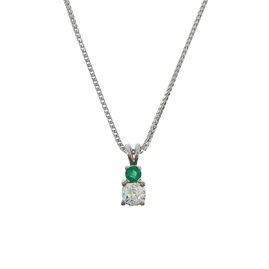 Old Cut Diamond & Emerald Pendant