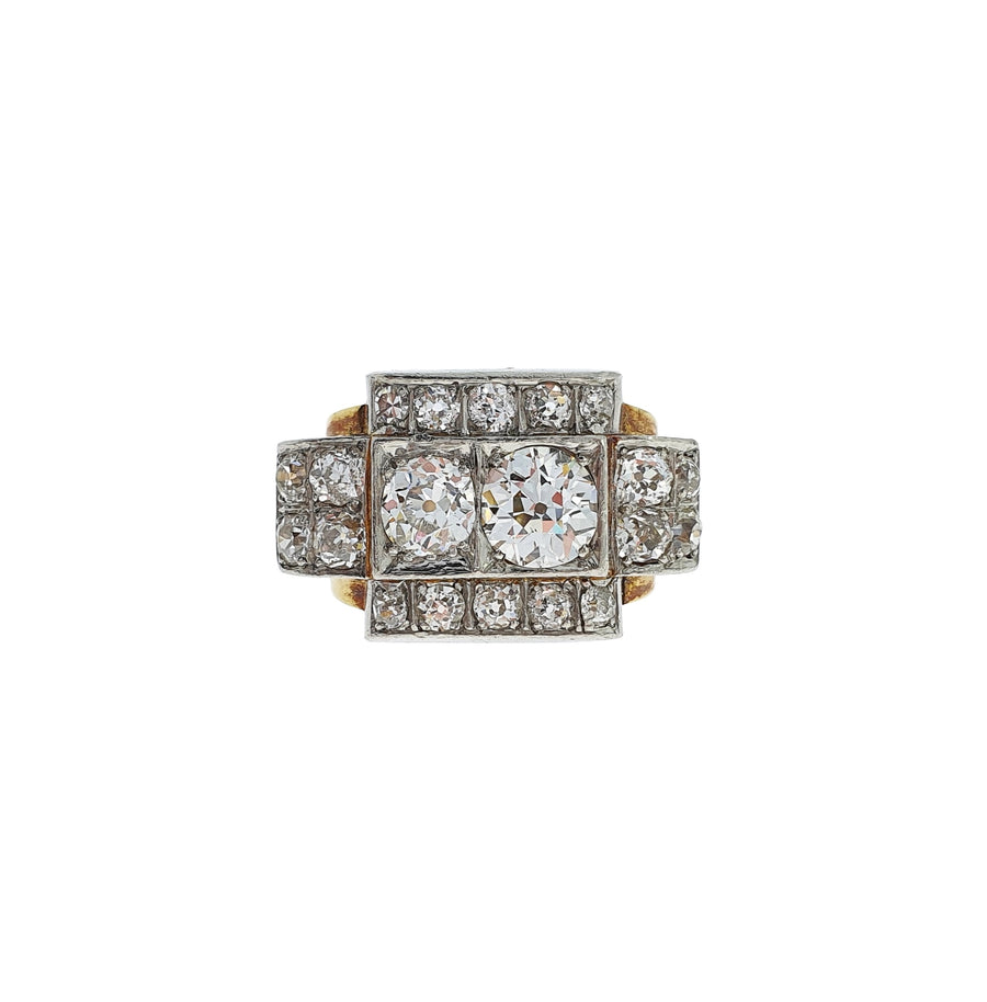 Retro Diamond Tank Ring