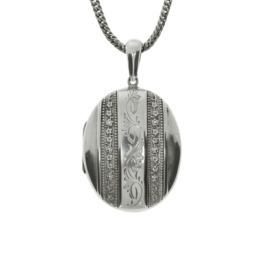Victorian Silver Locket & Chain