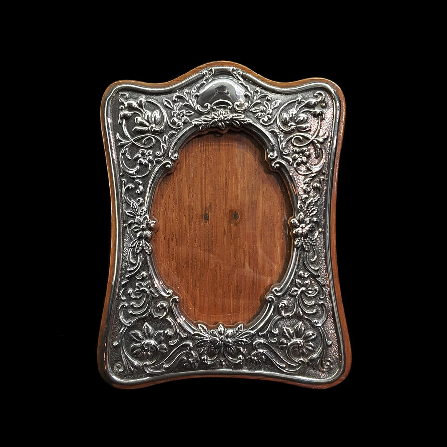 Antique Silver & Wood Photo Frame