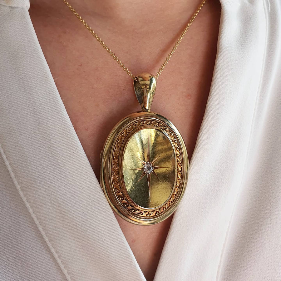 18ct Gold Victorian Diamond Set Locket