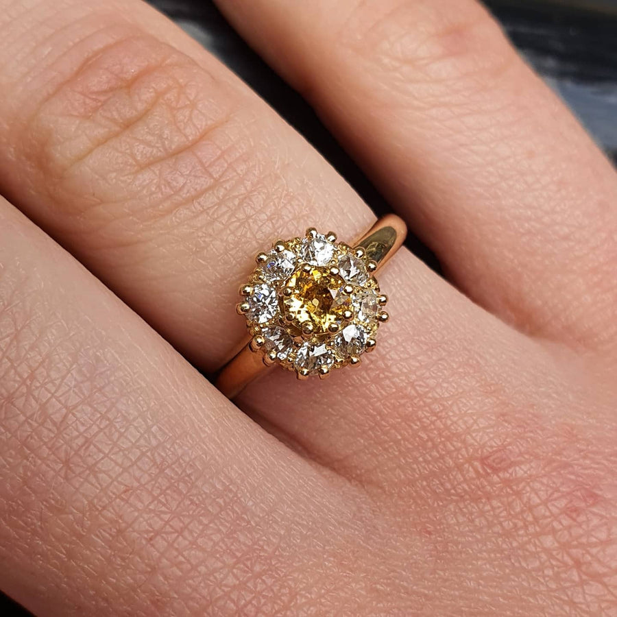 Antique Yellow Diamond Cluster Ring
