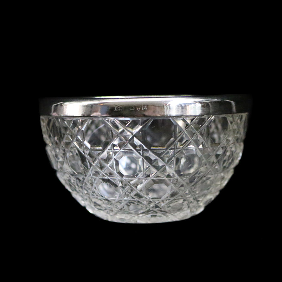 Antique Glass & Silver Rimmed Dish