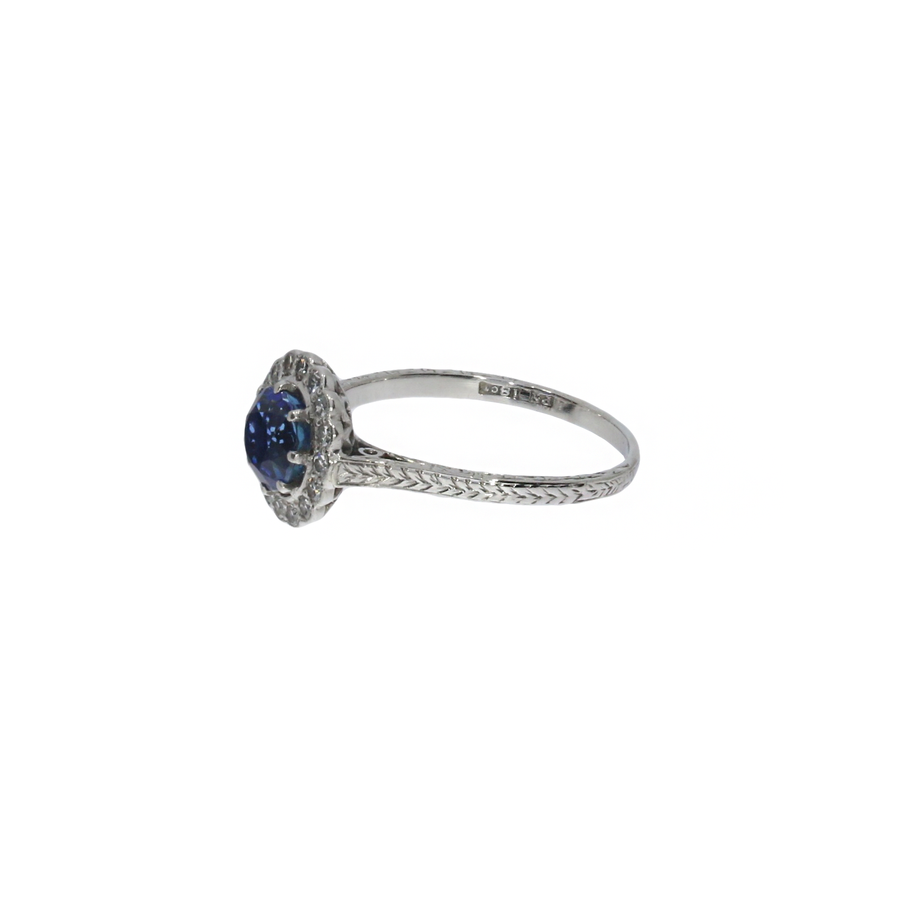 Sapphire & Diamond Engraved Cluster Ring
