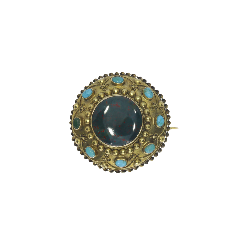 Victorian Turquoise & Bloodstone Brooch