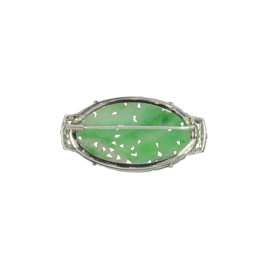 Art Deco Jade & Diamond Brooch