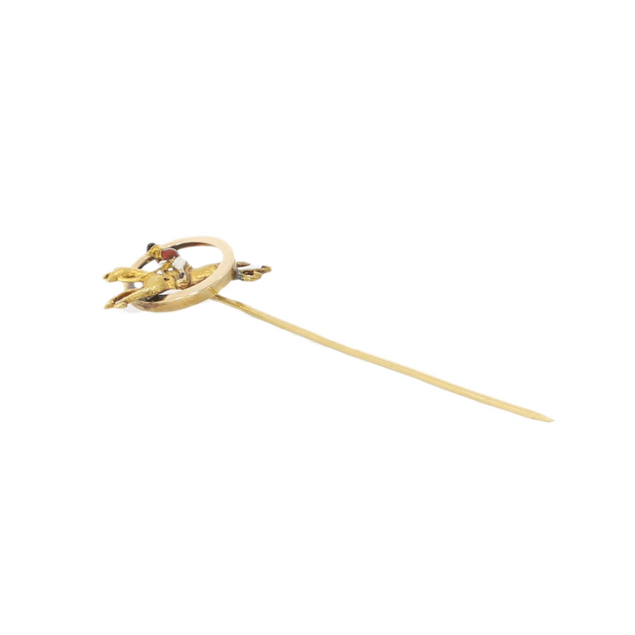 Gold & Enamel Jockey Pin