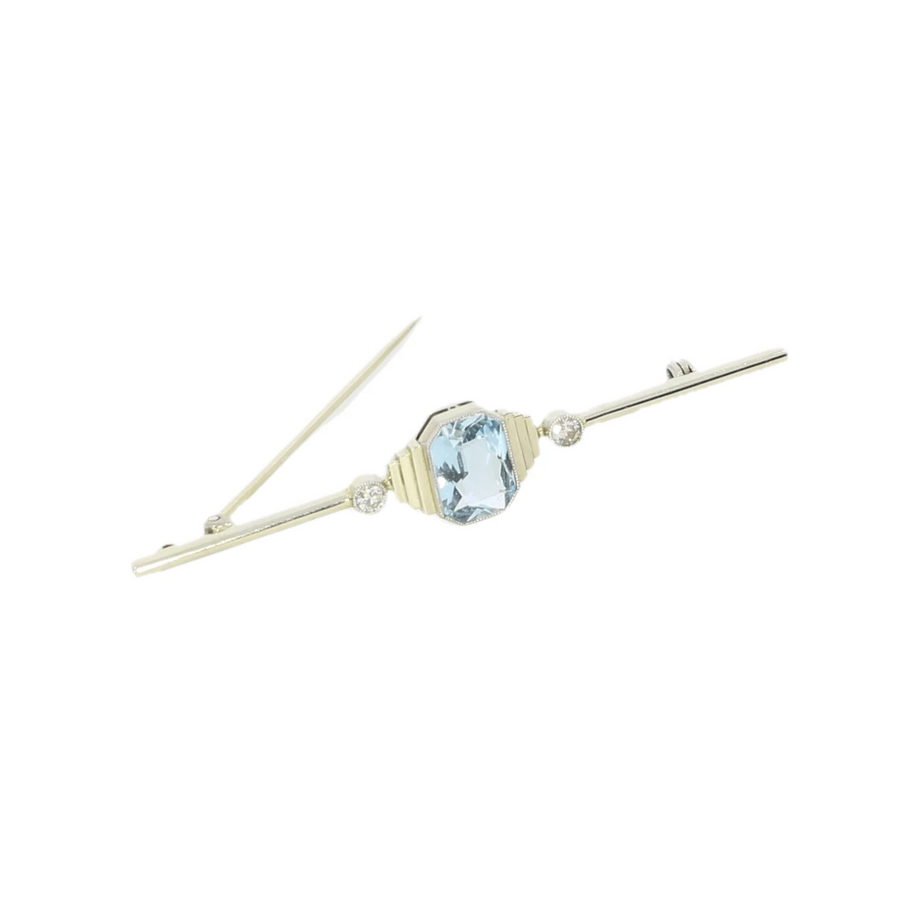 Aquamarine & Diamond Bar Brooch
