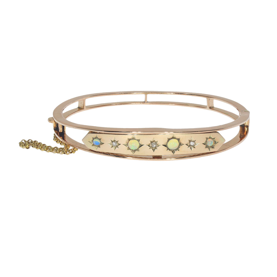 Antique Opal & Diamond Bangle