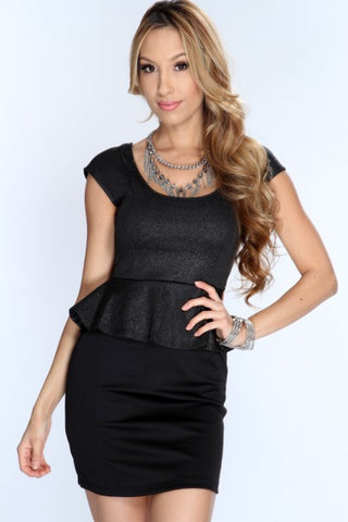 Black With Silver Shimmer Peplum Mini Dress