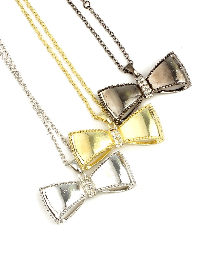 Bow Pendant Rhinestone Accent Chain Necklace Gold Silver Charcoal