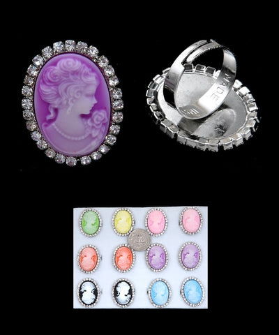 Victorian Style Cameo Lady Portrait Adjustable Ring