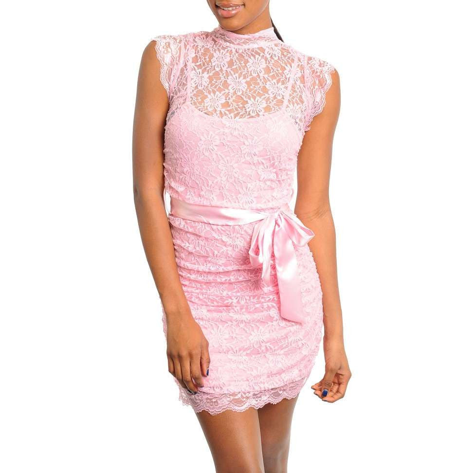 Romantic Pink Floral Lace Overlay Ruched Mock Neck Mini Dress