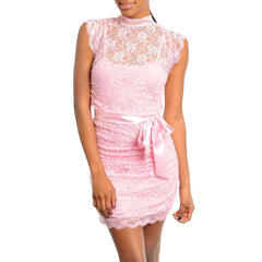 Need You Now Pink Lace Overlay Mini Dress