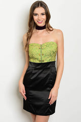 Olive Green Black Satin Strapless Zipper Front Cocktail Dress