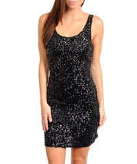 Sexy Black Sequined Sleeveless Open Back Mini Dress