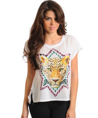 White With Leopard Face Design Graphic Top Shirt